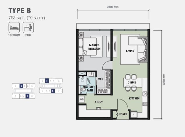 type B, 753sqft, 1bed, study