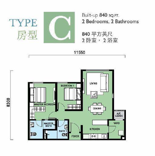 type c ,840sqft
