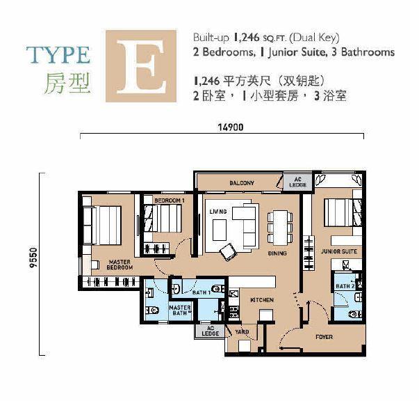 type E, 1246sqft